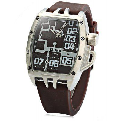 Buy Oulm 3286 Sports Quartz Watch with Rubber Band for Men BROWN for $18.97 in GearBest store