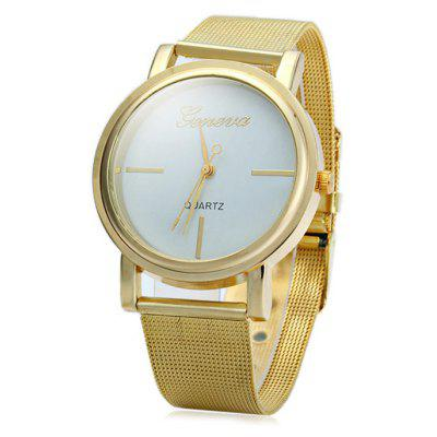 Geneva Male Quartz Watch with Steel Net Band