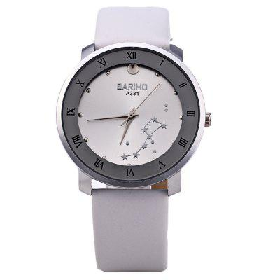 BARIHO A331 Big Dipper Pattern Women Quartz WatchWomens Watches<br>BARIHO A331 Big Dipper Pattern Women Quartz Watch<br><br>Available Color: Brown,Red,White,Black<br>Band material: Leather<br>Brand: Bariho<br>Case material: Stainless Steel<br>Clasp type: Pin buckle<br>Display type: Analog<br>Movement type: Quartz watch<br>Package Contents: 1 x BARIHO A331 Watch<br>Package size (L x W x H): 24.5 x 5 x 1.7 cm / 9.63 x 1.97 x 0.67 inches<br>Package weight: 0.082 kg<br>Product size (L x W x H): 23.5 x 4 x 0.7 cm / 9.24 x 1.57 x 0.28 inches<br>Product weight: 0.032 kg<br>Shape of the dial: Round<br>Style: Fashion&amp;Casual<br>The band width: 1.7 cm / 0.67 inches<br>The dial diameter: 4.0 cm / 1.57 inches<br>The dial thickness: 0.7 cm / 0.28 inches<br>Watches categories: Female table<br>Wearable length: 16.5 - 20.5 cm / 6.50 - 8.07 inches