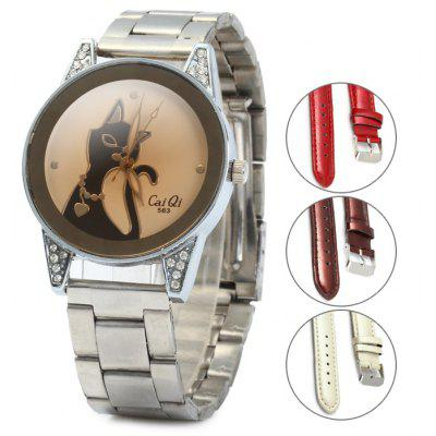 Cai Qi 563 Cat Pattern Diamond-shaped Mirror Female Quartz Watch
