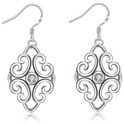 Trendy Geometric Shape Rhinestone Silver Plated Drop Earrings for Ladies