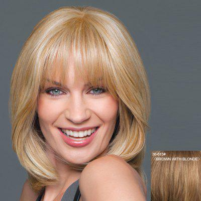 Medium Capless Natural Wavy Full Bang Real Human Hair Wig