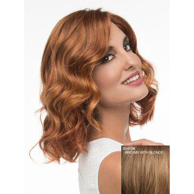 Buy BROWN WITH BLONDE Charming Medium Side Parting Fashion Fluffy Wavy Capless Human Hair Wig For Women for $90.90 in GearBest store
