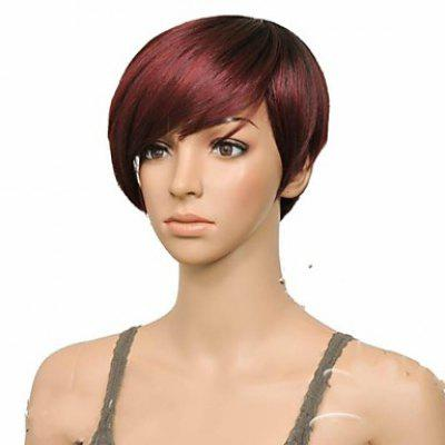 Buy DEEP BROWN Attractive Claret Ombre Deep Brown Straight Synthetic Vogue Short Side Bang Wig For Women for $17.56 in GearBest store