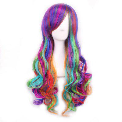 Harajuku Long Side Bang Fashion Colorful Ombre Shaggy Wavy Synthetic Cosplay Wig For Women fashion long side bang synthetic shaggy wavy golden flax capless cosplay wig for women