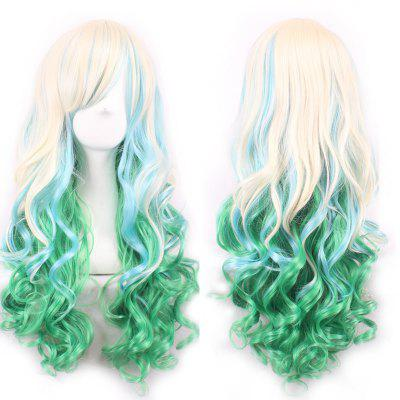 Shaggy Wavy Long Three Color Gradient Synthetic Charming Side Bang Cosplay Wig For Women