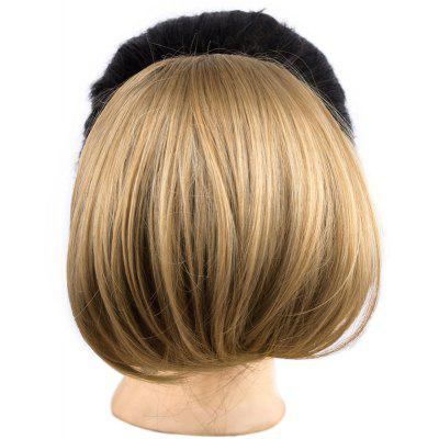 Stylish Brown Mixed Blonde Capless Elegant Straight Synthetic Chignons For Women