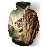 Cool 3D Lion Print Front Pocket Rib Hem Loose Fit Drawstring Hooded Long Sleeves Men's Hoodie