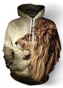3D Lion Print Front Pocket Rib Hem Loose Fit Drawstring Cool Hoodie