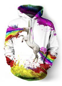 3D Unicorn Print Colorful Splatter Paint Front Pocket Hoodie
