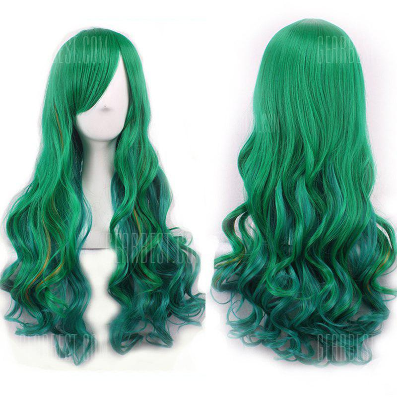 Gorgeous Harajuku Side Bang Fluffy Long Wavy Synthetic Two-Tone Ombre Cosplay Wig For Women