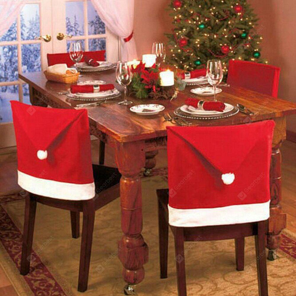 6pcs Red Santa Claus Hat Chair Back Cover for Christmas