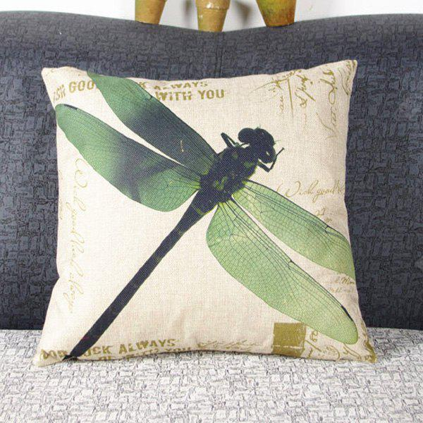 Buy Simple Dragonfly Pattern Linen Decorative Pillowcase (Without Pillow Inner) GREEN