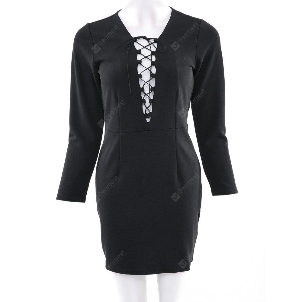 Sexy Plunging Neck Long Sleeve Criss-Cross Bodycon Women's Mini Dress S BLACK