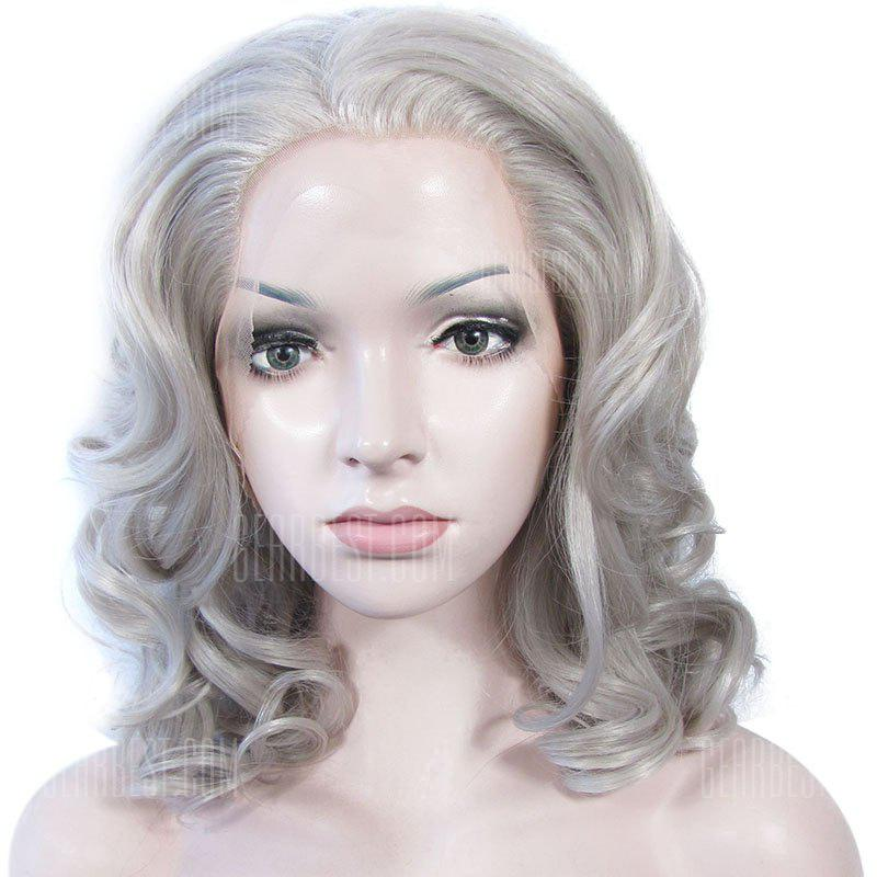GREY T4503/1001# Attractive Long Heat Resistant Synthetic Stylish Fluffy Wavy Lace Front Wig For Women