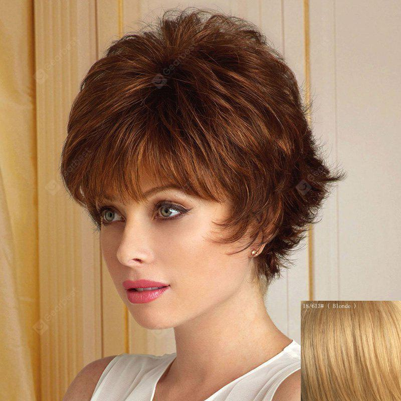 Assorted Color Fluffy Wavy Capless Spiffy Short Haircut Neat Bang Human Hair Wig For Women