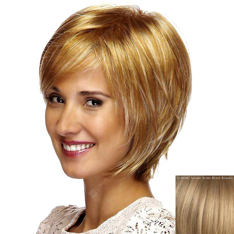 Attractive Short Straight Stylish Side Bang Capless Human Hair Wig For Women