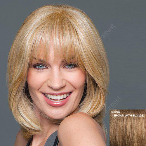 Elegant Medium Capless Stylish Fluffy Natural Wavy Full Bang Real Human Hair Wig For Women