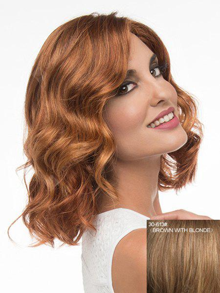 Charming Medium Side Parting Fashion Fluffy Wavy Capless Human Hair Wig For Women