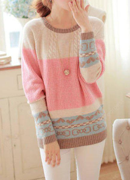 PINK Sweet Scoop Neck Long Sleeve Bowknot and Heart Pattern Sweater For Women