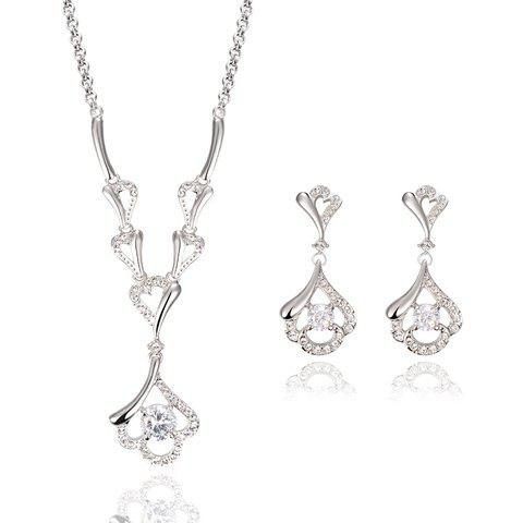 Suit Alloy Rhinestoned Hollow Necklace Earrings - WHITE GOLDEN
