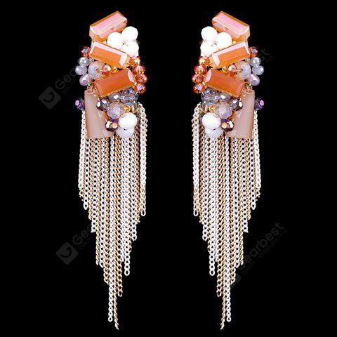 Pair of Classic Faux Crystal Chain Tassel Earrings For Women