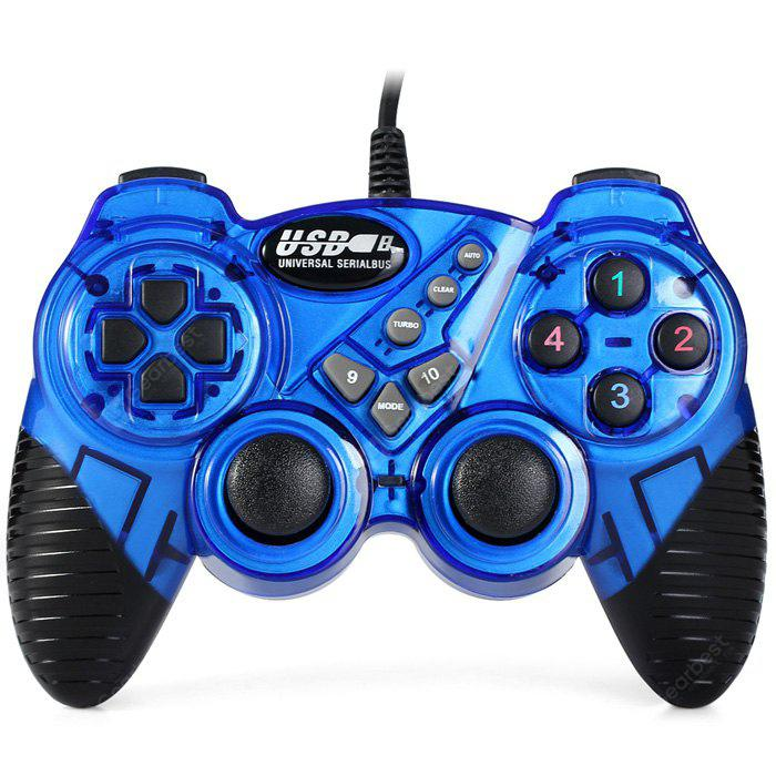 USB-906 USB 1.0 / 2.0 Wired Game Pad BLUE AND BLACK
