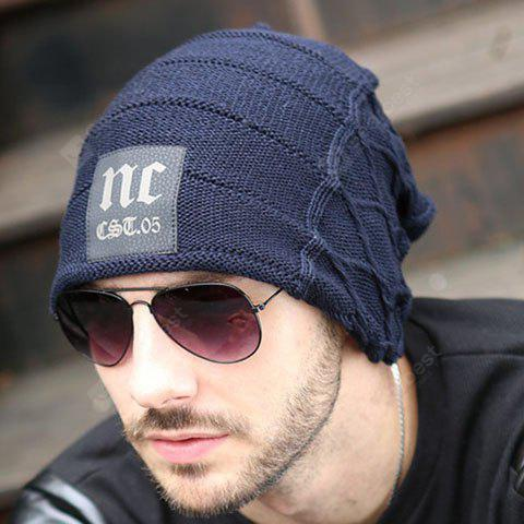 Stylish Letter Label and Mesh Shape Embellished Knitted Beanie For Men