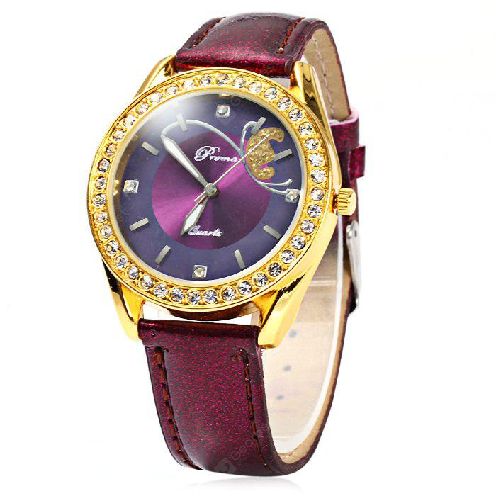 Prema Glossy Leather Strap Diamond Women Quartz Watch