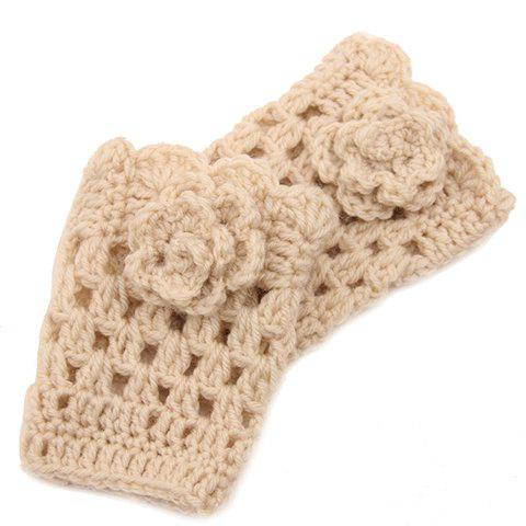 Buy Pair Chic Flower Shape Embellished Hollow Knitted Boot Cuffs Women OFF-WHITE