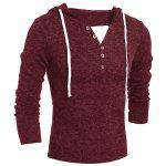 Single-Breasted Drawstring Hooded Solid Color Slimming Long Sleeves Men's Thicken Sweater XL WINE RED