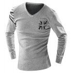 One Pocket Union Jack Intarsia Geometric Pattern Slimming V-Neck Long Sleeves Men's Sweater - GRAY