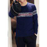 Buy Casual Round Neck Color Block Funny Letters Pattern Slimming Men's Long Sleeves T-Shirt L PURPLISH BLUE