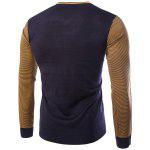 Personality V-Neck Stripes Argyle Intarsia Hit Color Slimming Long Sleeves Men's Cashmere Blend Sweater - CADETBLUE