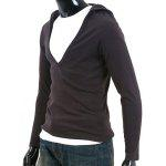 Buy Simple Hooded Chest Hollow Solid Color Slimming Men's Long Sleeves T-Shirt DEEP GRAY