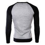 Buy Classic Color Block Splicing Round Neck Long Sleeves Men's Slimming T-Shirt BLACK AND GREY