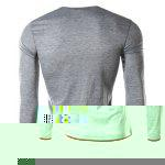 Buy Single-Breasted Color Spliced Slimming Round Neck Long Sleeves Men's Faux Twinset T-Shirt LIGHT GRAY