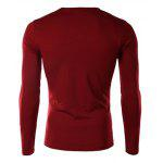 Buy Personality Rose Print V-Neck Long Sleeves Men's Slimming Casual T-Shirt WINE RED