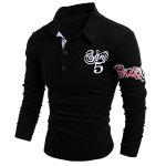 Graphic Print Long Sleeve Buttons Men's Polo T-Shirt - BLACK