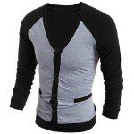 V-Neck Color Block Splicing Single-Breasted Long Sleeve Men's Cardigan - BLACK