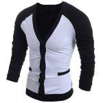 V-Neck Color Block Splicing Single-Breasted Long Sleeve Men's Cardigan - WHITE