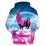 Buy 3D Animal Unicorn Rainbow Print Front Pocket Loose Fit Drawstring Hooded Long Sleeves Men's Hoodie COLORMIX