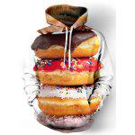 Hot Sale Funny 3D Doughnut Print Front Pocket Drawstring Hooded Long Sleeves Men's Loose Fit Hoodie - COLORMIX