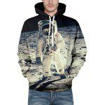 Vogue Loose Fit Drawstring Hooded 3D Astronauts On Space Print Front Pocket Men's Long Sleeves Hoodie - COLORMIX