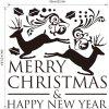 M-28 Small Deer and Merry Christmas Wall Stickers - WHITE