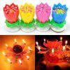Fireworks Lotus Music Candle Rotary Flower Petal Birthday Party - PINK