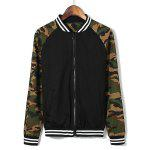 Buy Modern Style Stand Collar Striped Rib Spliced Camo Long Sleeves Men's Slimming Jacket ARMY GREEN