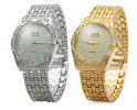 GND Male Diamond Quartz Watch with Stainless Steel Band - GOLDEN