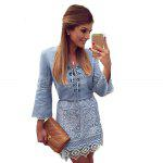 cheap Stylish V-Neck Flare Sleeve Lace Spliced Lace Up Denim Ladies Midi Dress