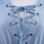 Stylish V-Neck Flare Sleeve Lace Spliced Lace Up Denim Ladies Midi Dress photo
